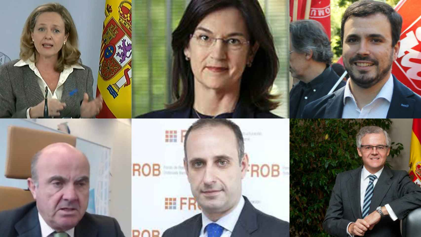 Nadia Calviño, Cani Fernández (CNMC), Alberto Garzón (ministro de Consumo), Luis de Guindos (BCE), Jaime Ponce (FROB) y Sebastián Albella (CNMV).