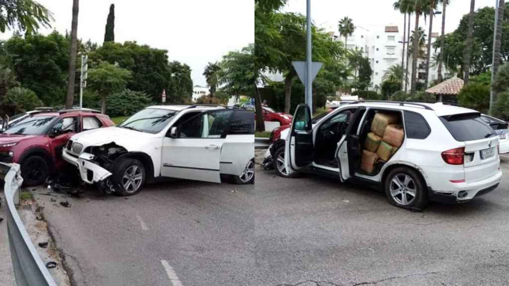 El estado en el que ha quedado el BMW con los fardos a bordo.