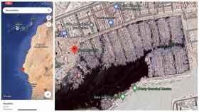 A la izquierda, el inicio del vídeo. A la derecha, un captura de Google Maps en el que se ven las barcas pesqueras del puerto artesanal de Nuadibú (Mauritania).