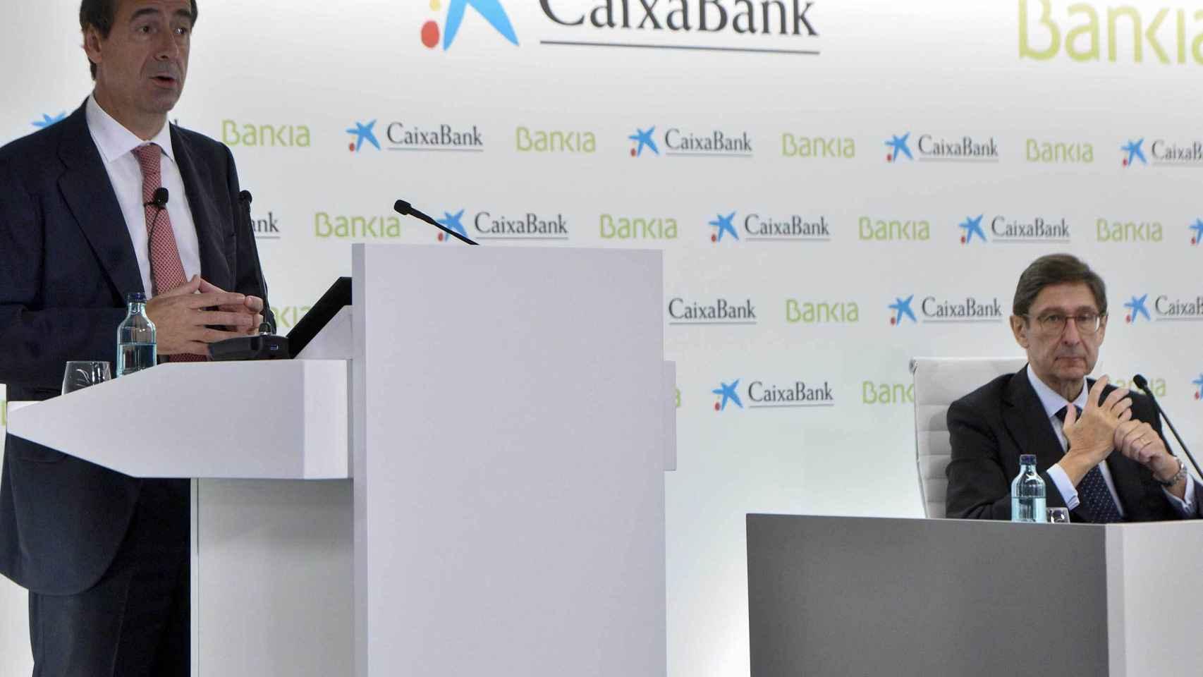El consejero delegado de CaixaBank, Gonzalo Gortázar, ofrece los detalels de la fusión con Bankia.