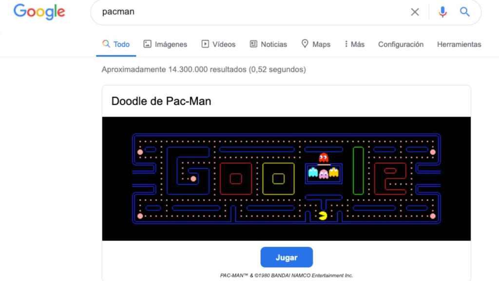 Juego de Pac-Man en Google Chrome