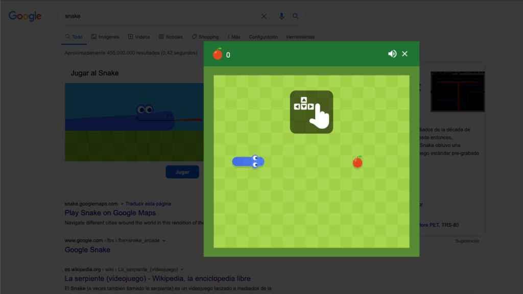 Jugando al Snake desde Google Chrome.