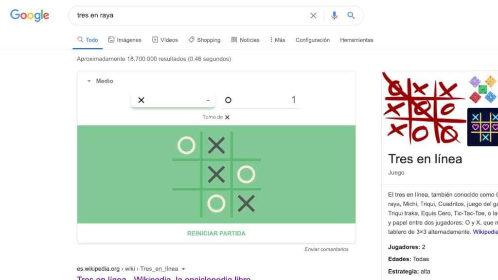 Tres en Raya en Google.