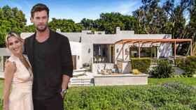 Elsa Pataky y Chris Hemsworth, junto a la casa que venden en Malibú, en un fotomontaje de Jaleos.