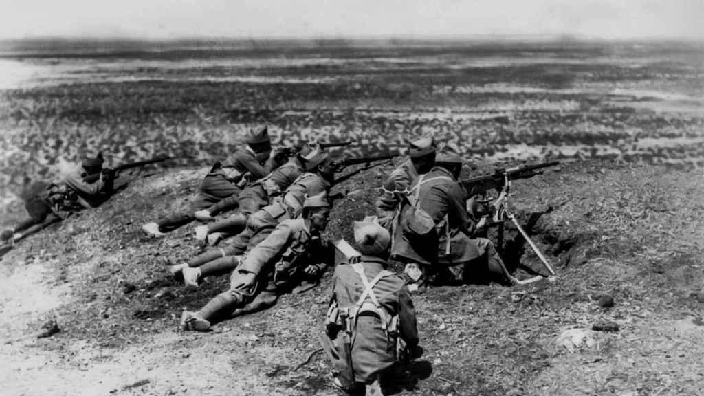 Una unidad de legionarios, durante la Guerra de Marruecos.