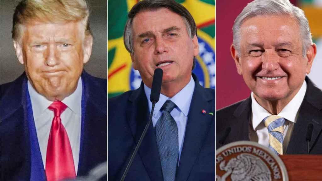 Donald Trump, Jair Bolsonaro y Andrés Manuel López Obrador.