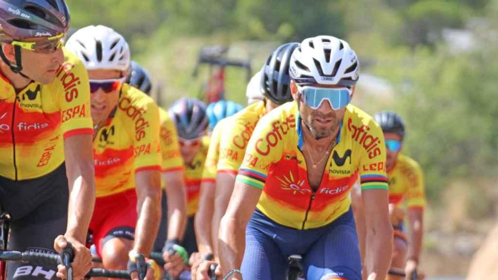Alejandro Valverde, con el maillot de España