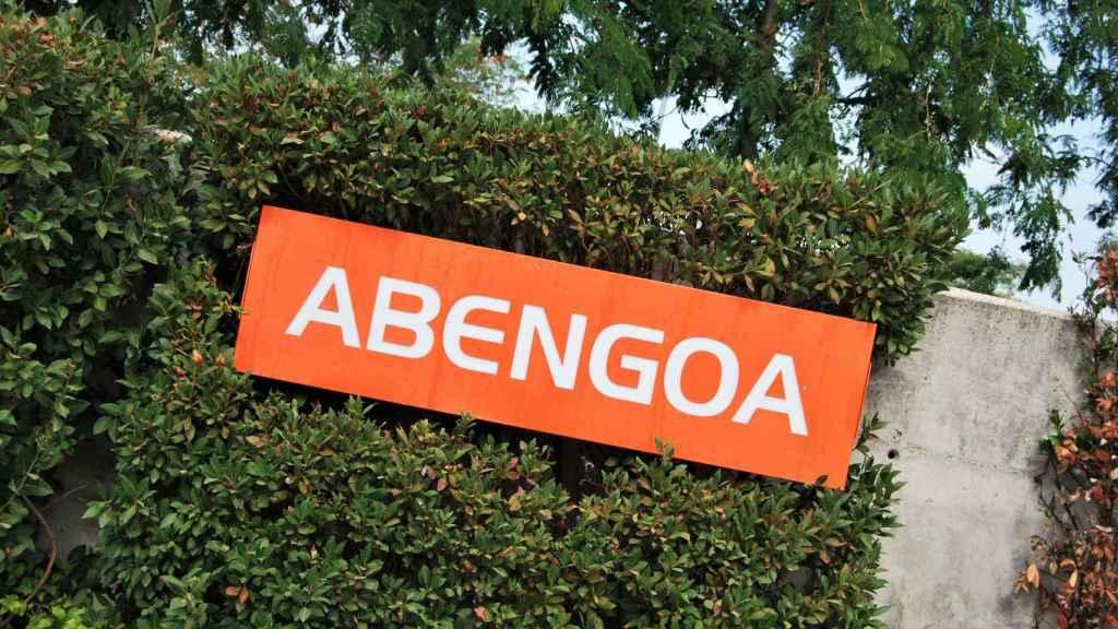 Rótulo de Abengoa en su sede de Sevilla.