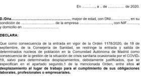 Certificado para justificar la entrada y salida de las 37 zonas restringidas.
