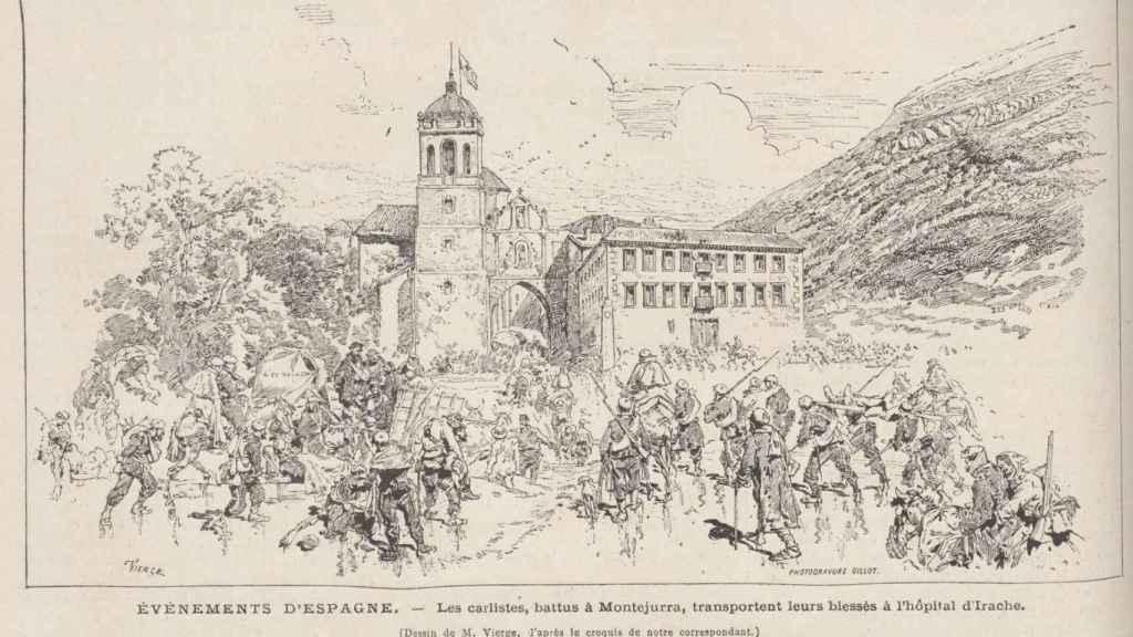 Los carlistas, derrotados en Montejurra, transportan a sus heridos al hospital de Irache.