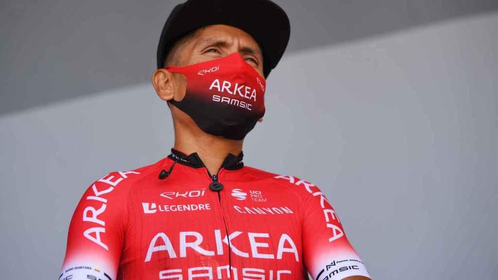 Nairo Quintana antes de una etapa del Tour de Francia