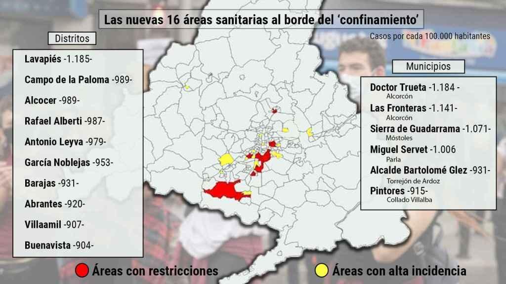 El mapa de los 10 nuevos barrios de Madrid y 6 municipios camino del 'confinamiento'