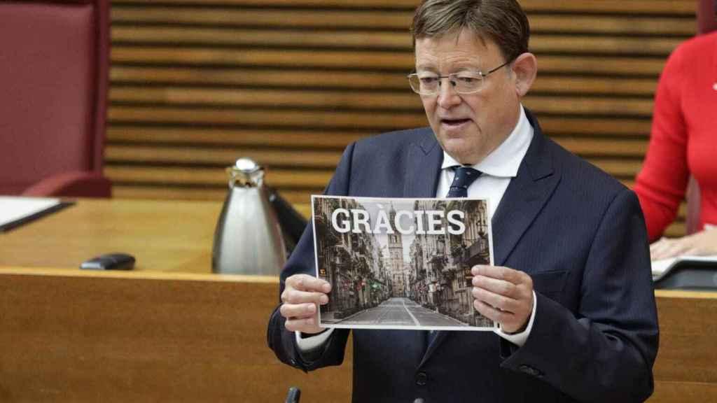 Ximo Puig, durante su intervención este lunes en 'Les Corts Valencianes'. EE