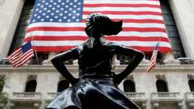 A jabot collar is seen placed on the Fearless Girl statue outside of the New York Stock Exchange (NYSE) in Manhattan, New York City