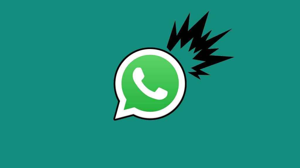 Fotomontaje con el icono de WhatsApp y una explosión.