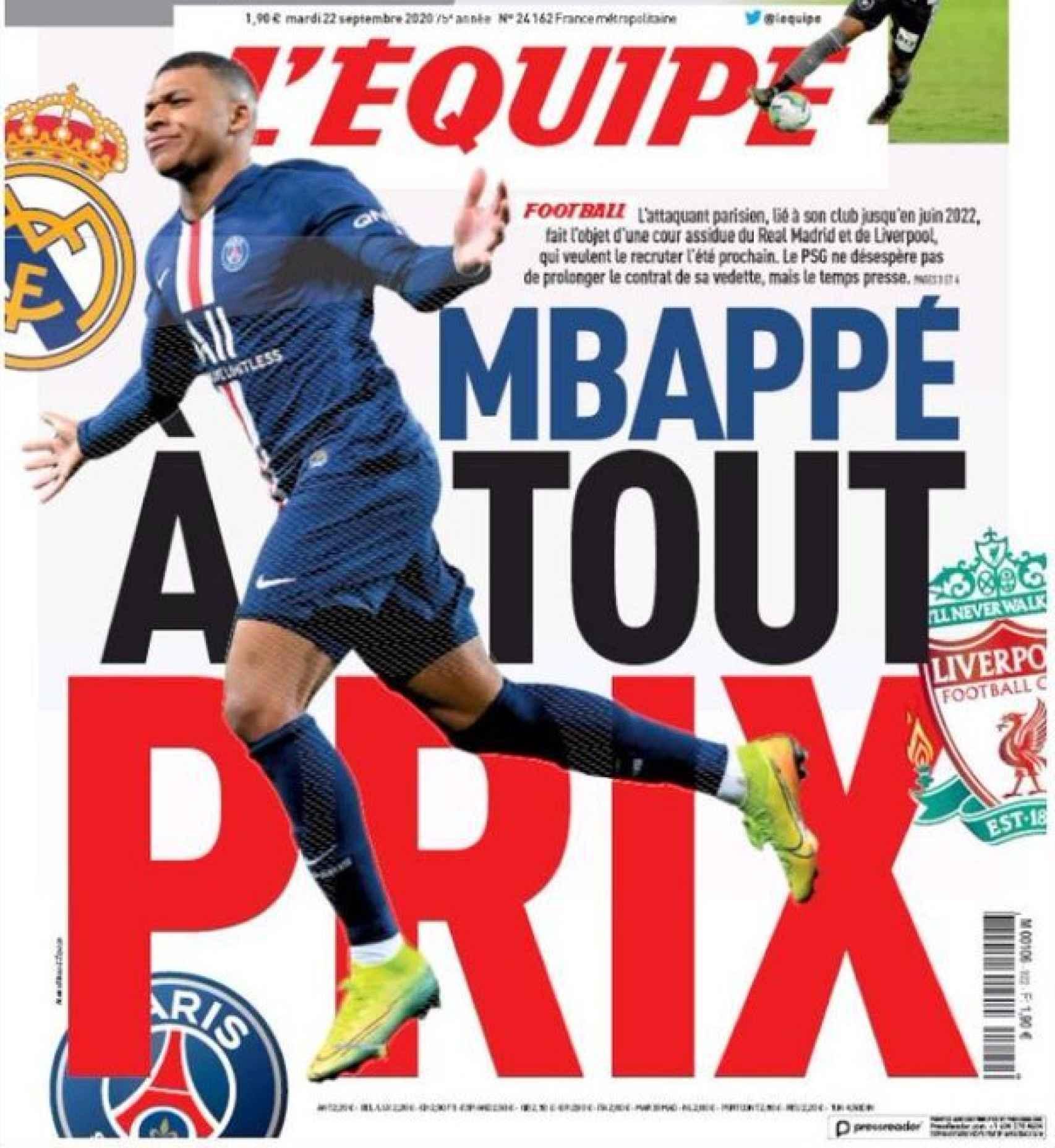 La portada del diario L'Équipe (22/09/2020)