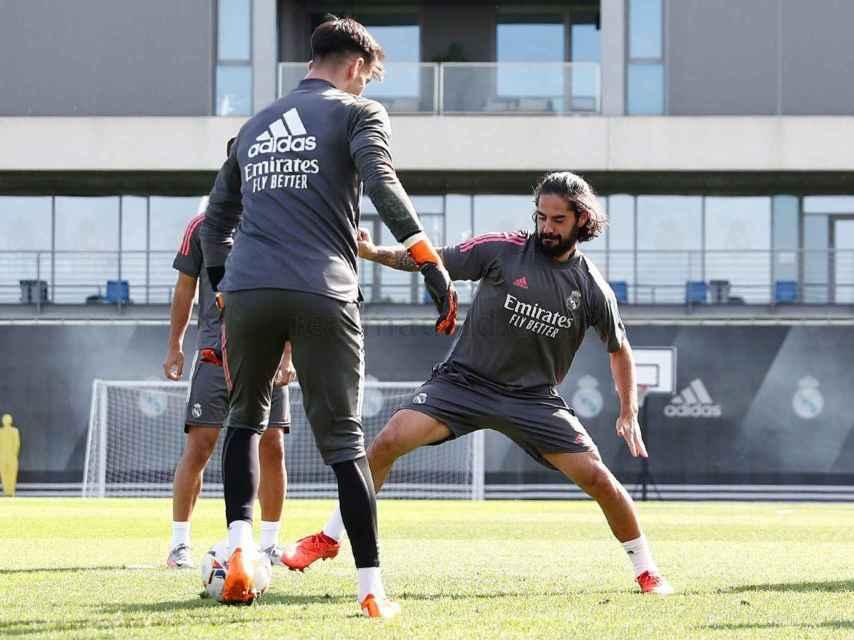 Isco durante el entrenamiento del Real Madrid