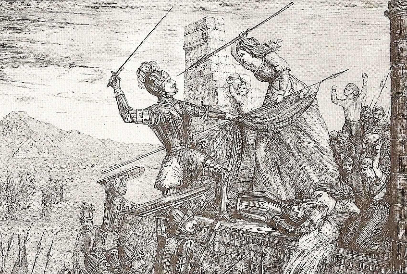 'Heorísmo de María Pita', un grabado de F. Ferrer y Ros de 1589.