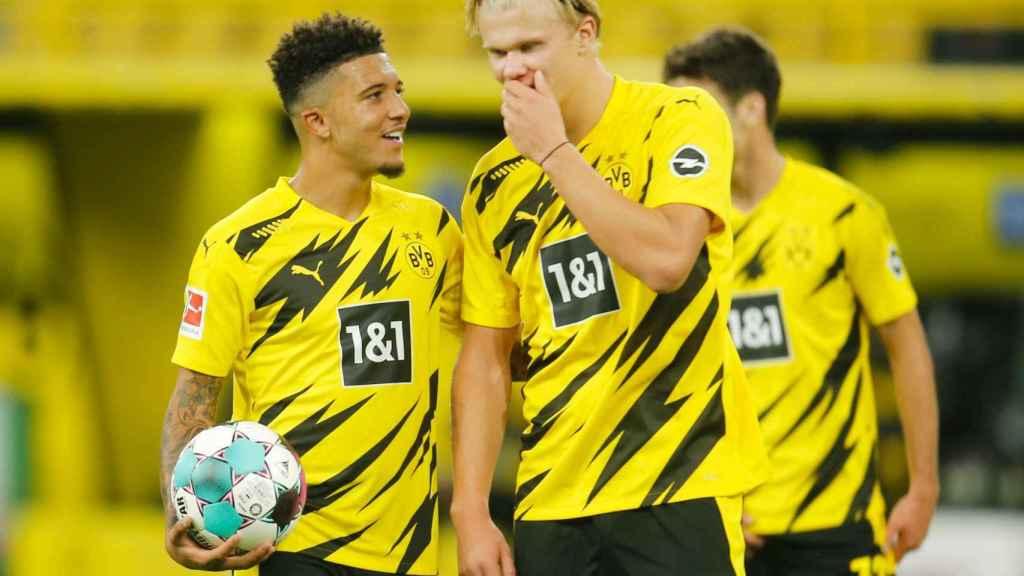 Jadon Sancho y Erling Haaland, en un partido del Borussia Dortmund en la temporada 2020/2021