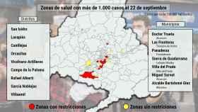 Estos son las 16 zonas básicas con una incidencia superior a 1.000 con datos actualizados a 22 de septiembre.