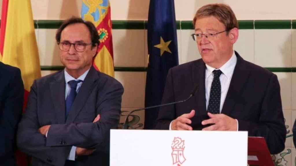 Vicent Soler, consejero de Hacienda, y Ximo Puig, presidente de la Generalitat Valenciana. EE