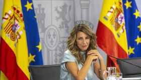 La ministra de Trabajo y Economía Social, Yolanda Díaz, en la rueda de prensa posterior al Consejo de Ministros.