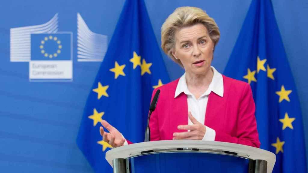 La presidenta Ursula von der Leyen, durante la presentación del Pacto de Inmigración