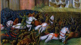 Grabado del siglo XV sobre el sitio de Tiro de 1187 en el que aparece representado el Caballero Verde.