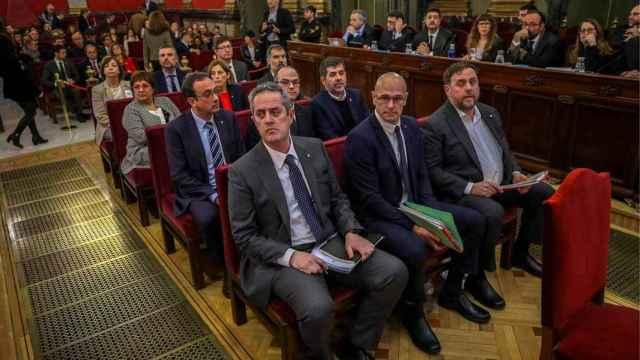 Joaquim Forn, Raül Romeva y Oriol Junqueras, en el banquillo del juicio del 'procés' celebrado en el Tribunal Supremo.