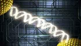 Representación gráfica de la conducción eléctrica a través de moléculas de ADN.