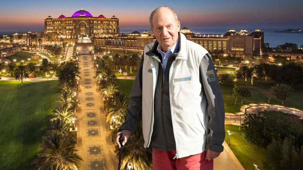 El emérito Juan Carlos en montaje junto al hotel Emirates Palace.