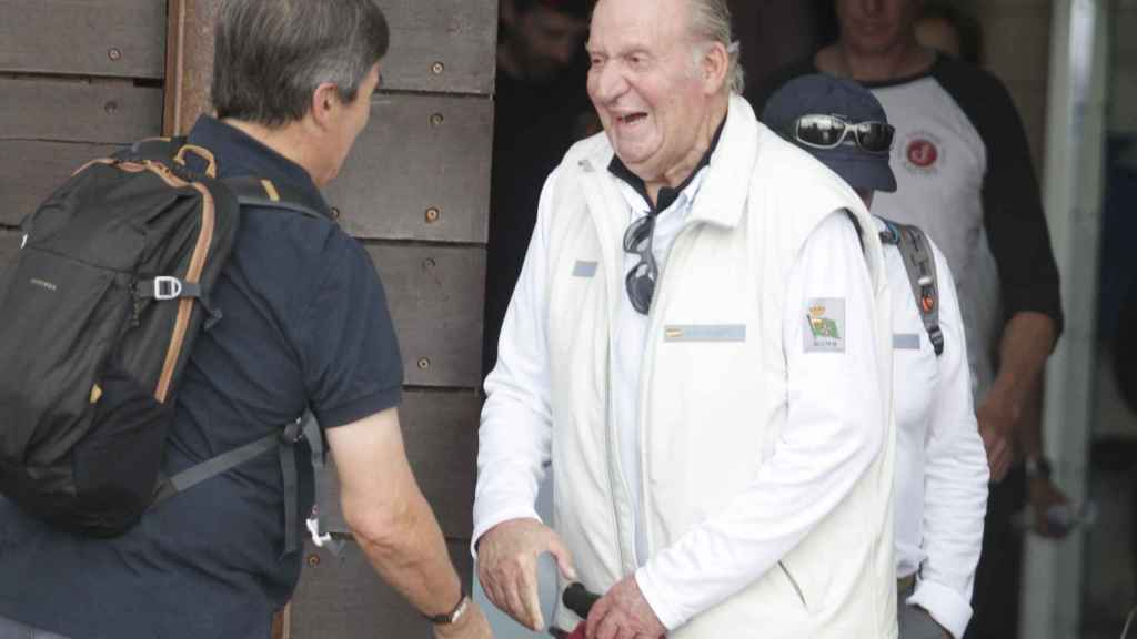 Juan Carlos en Sansenxo en julio de 2019.