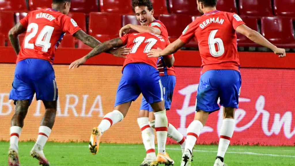 El Granada celebra su gol en la fase previa de la Europa League