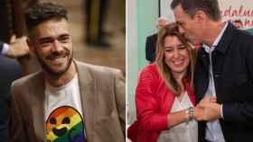 Felipe Sicilia y Susana Díaz con Pedro Sánchez.