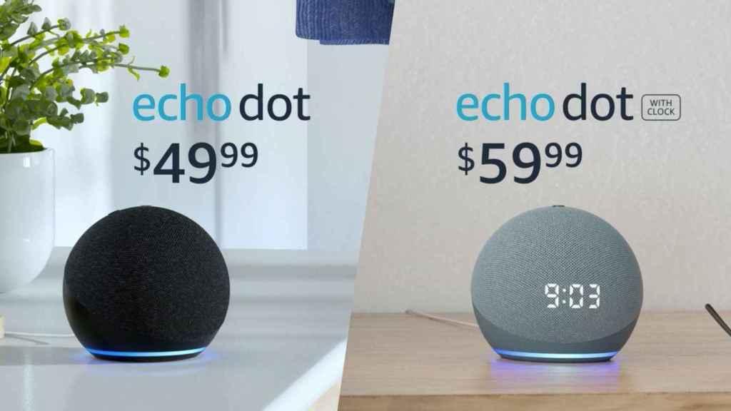 Nuevos Amazon Echo Dot y Echo Dot con reloj
