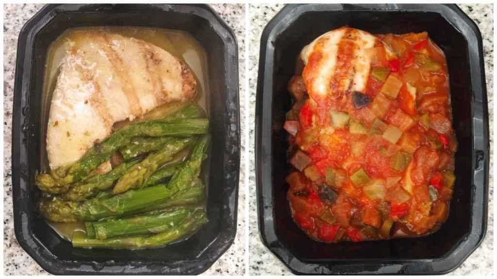 Así vienen las comidas, a la izquierda, el emperador con trigueros y a la derecha, la pechuga de pollo con pisto.