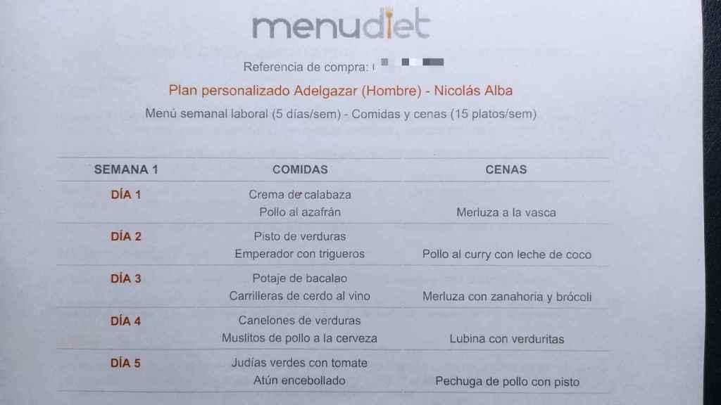 El menú que diseñó la nutricionista Cynthia Rodríguez para mi plan de adelgazamiento.