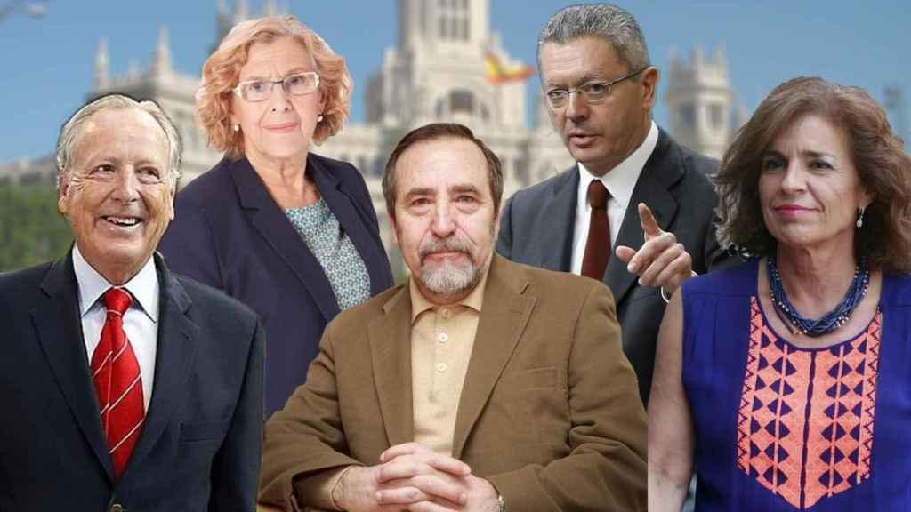 Los exalcaldes de Madrid, de izda a dcha: Álvarez del Manzano, Carmena, Barranco, Gallardón y Botella.