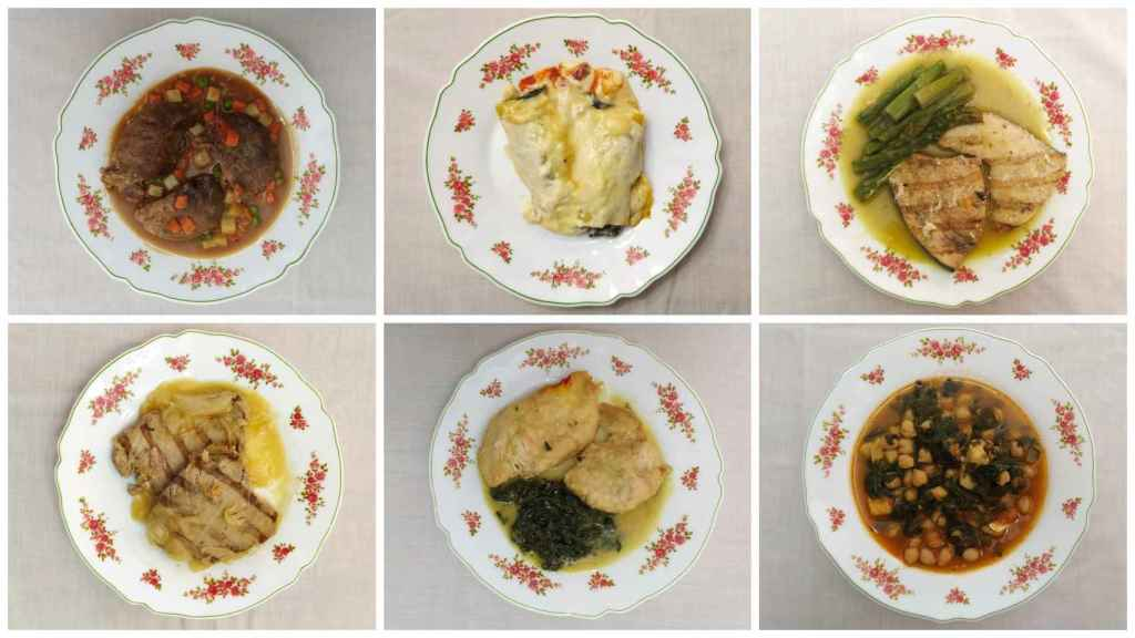 De arriba a abajo y de izquierda a derecha: carrilleras de cerdo al vino, canelones de verduras, emperador con trigueros, atún encebollado, pollo al azafrán y potaje de bacalao.