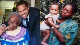 A la izquierda, Ignacio Garriga con su abuela Mercedes. A la derecha, una foto en brazos de su madre, Cloti.