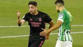 Fede Valverde celebra su gol al Real Betis