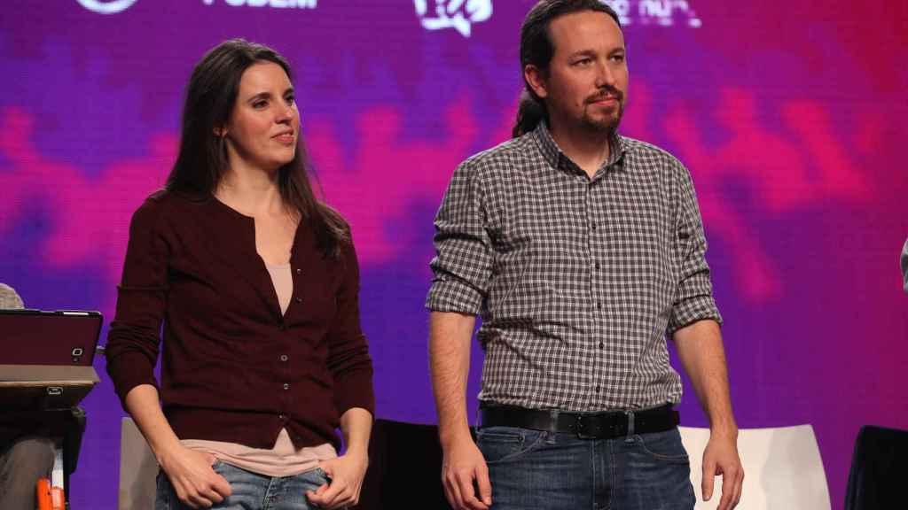 Pablo Iglesias e Irene Montero en un acto político.