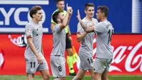 Los jugadores del Athletic celebran un gol ante el Eibar