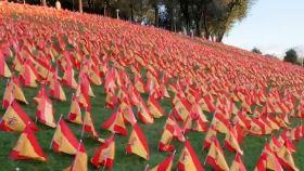 Imagen del Parque Roma de Madrid con las banderas colocadas por las víctimas de Covid.