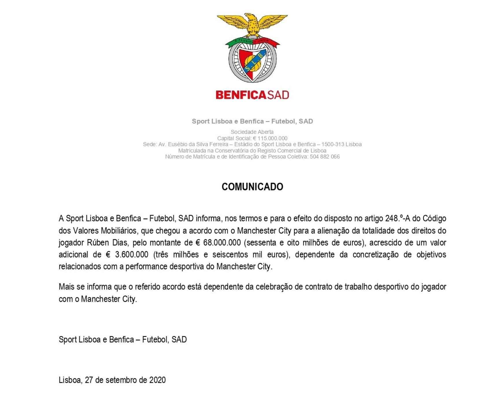 La nota del Benfica a la CMVM de Portugal anunciando la salida de Rubén Dias