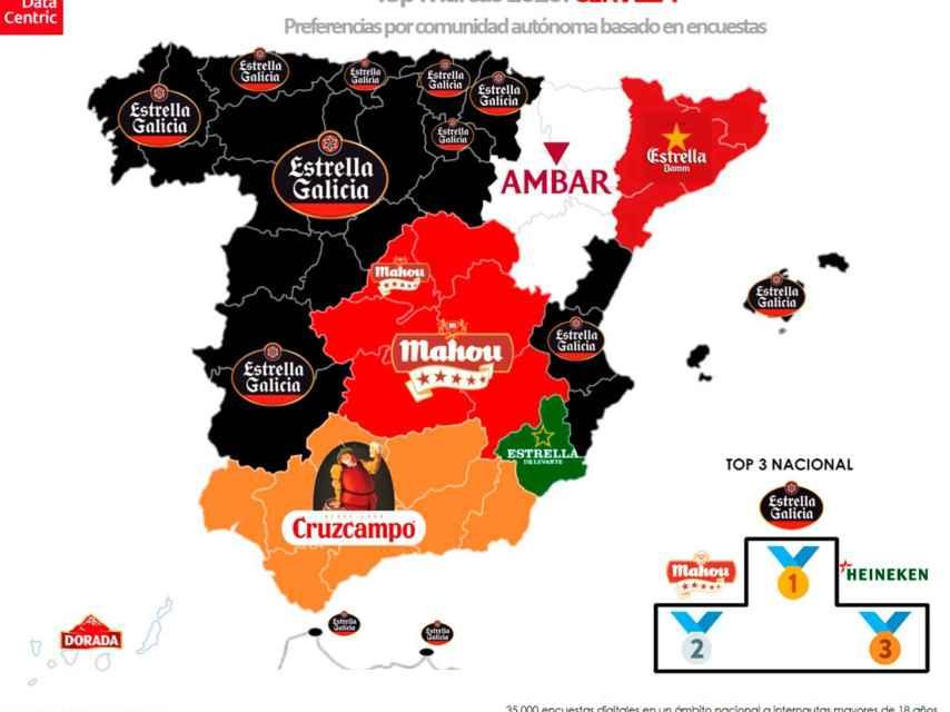 El mapa de las marcas favoritas de cerveza en España en 2020.