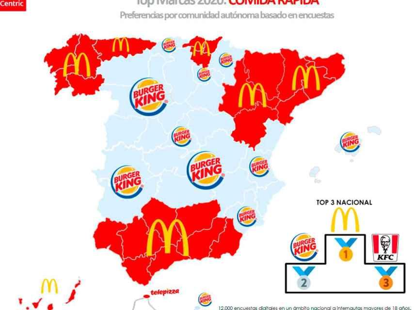 El mapa de las marcas favoritas de comida rápida en España en 2020.