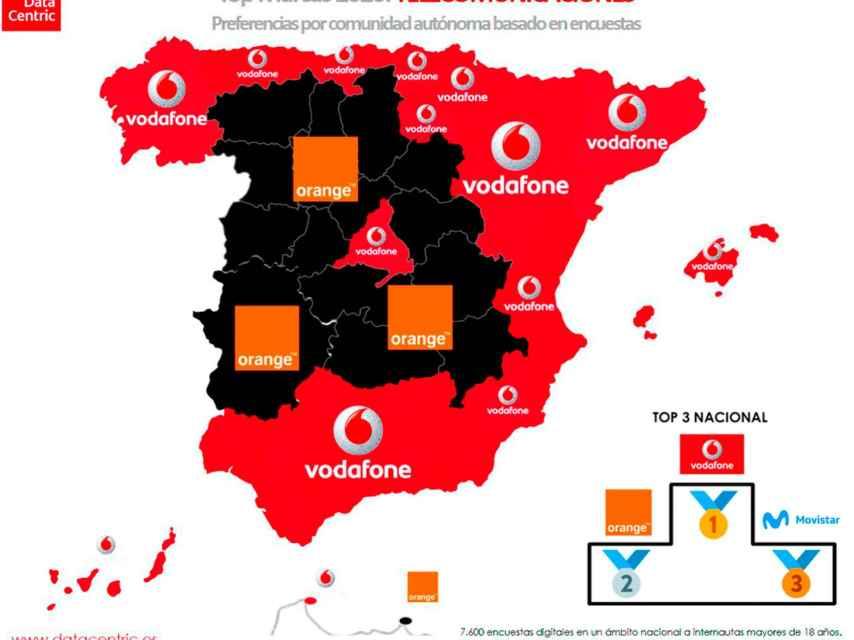 El mapa de las marcas favoritas de telecomunicaciones en España en 2020.