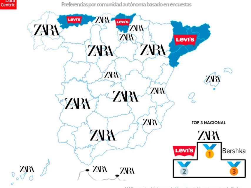 El mapa de las marcas favoritas de moda en España en 2020.
