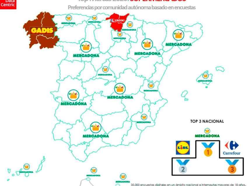 El mapa de las marcas favoritas de supermercados en España en 2020
